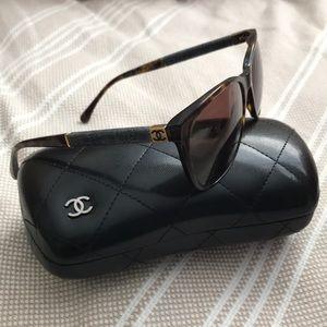 Chanel tortoise and denim sunglasses